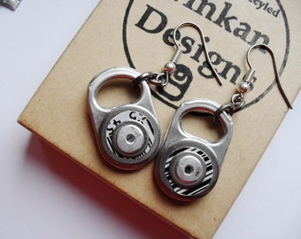Eco Friendly Earrings, Upcycled Metal Beer Can, Black and White Barcode, Hypo-allergenic, Valentine Gift for Her