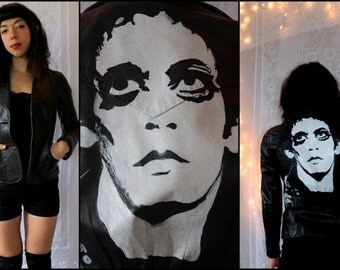 LOU REED - Hand Painted - Vintage Leather Jacket