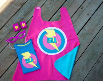 Girls Personalized 4 piece SUPERHERO CAPE SET - With personalized cape and iron-on t shirt decal, mask, & arm bands