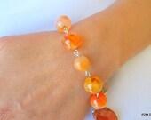 Stacking gemstone bracelet, orange fire agate link bead bracelet, gift under 50