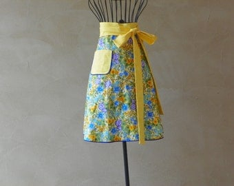 Waist Apron Beautiful Colorful Blue and Yellow Flowers