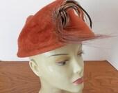 Vintage Mr. Frank HIgh Fashion Hat- Feather Trim Hat- Orange Brushed Velour Hat- Vogue Hat Box