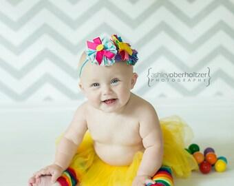 Summertime Rainbow Soiree- ruffle and rosette headband