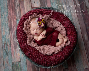 Harper's Fancy- floral maroon ruffle with pink and mustard accents headband