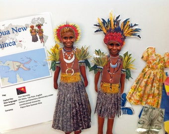 Magnetic paper doll (Papua New Guinea) set of two dolls
