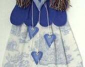 Angel blue felt and cotton nightdress case, french print nightdress,doll pyjama holder,fairytale princess nightie sac,handmade by FRALINE