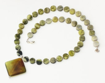 Harmony serpentine and agate necklace
