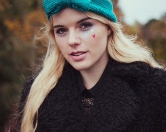 Turquoise Knitted Bow Headband, Knitted Headband, Oversized Bow Headband, Cute and Cosy Ear Warmer