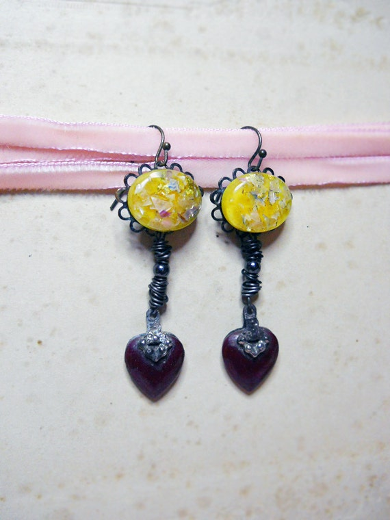 Rustic Earrings - Vintage Yellow Confetti Cabochons, Iridescent Purple Heart Charms - Steel Wire Wrapping - Rustic Sweetheart Jewelry