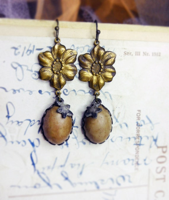Rustic Assemblge Earrings - Vintage Brass Flowers, Italian Lucite Cabochons, Shabby Stars - Neutral Earthy - Starry Floral Spring Earrings