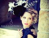Beige Black and White Oversized Headpiece - Free Bag - Women Facinator Hat Women Statement Accessory Pheasant Feathers Ella Gajewska HATS