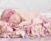 Pink Felt Rose Tieback: Newborn Headband, Baby Rosette Ribbon Tie, Halo