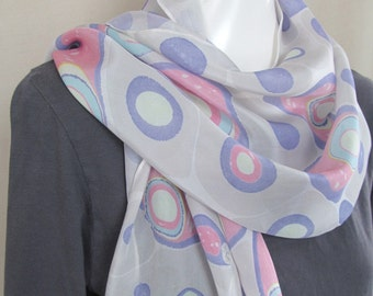 Pink Blue Gray Marbled Silk Scarf