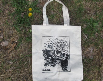 Unless... Tote Bag - Lorax Themed Beige Canvas Tote - off white natural sturdy punk earth first nature environment green eco grocery sack