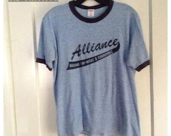 Vintage 1980's Tri Blend Ringer Alliance Heather Blue T-shirt size Large