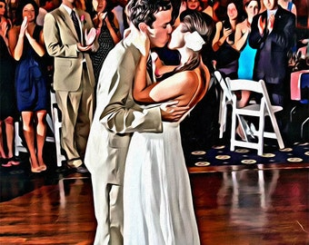 Custom Wedding or Anniversary or Engagement Oil Painting Canvas 16x20