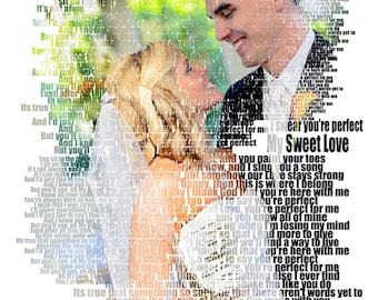 Custom Photo Gift Portrait On Canvas Wedding Vows Song Lyric Gift 16x20