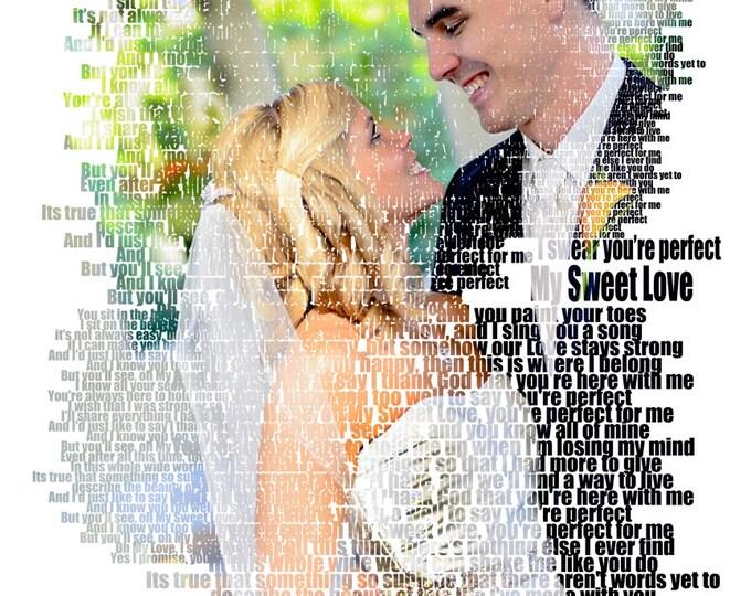 Song Lyric Art 2nd Anniversary Cotton Anniversary 1st Anniversary First Dance Lyrics First Dance Songs Custom Photo Gift Wedding Songs 16x20