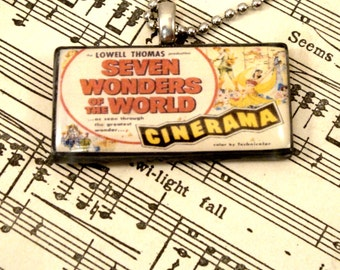 Seven Wonders of the World Movie Vintage Postcard Necklace