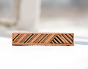 Striped Skinny Tie Clip | Bronze, Teal + Black | Modern Geometric Cherry Wood