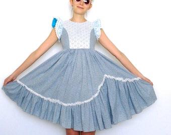 60s Ditsy Floral Blue Lacey Asymmetrical Prairie Dress xxs