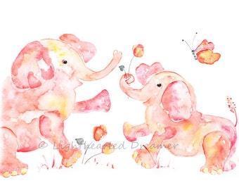 Pink Elephant Print, Nursery Decor, Baby Girl Nursery,  Baby Girl Gift, Watercolor Elephant, Baby Shower Gift, animal nursery