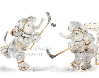 Baby Boy Nursery Art, Hockey, Sports Nursery Print, Boys Wall Art, Elephant nursery, Hockey Decor, Art for Boys Room, Elephant Print