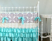 Lilac Lullaby Lilac and Turquoise ruffle crib bedding
