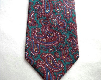 Brooks Brothers Silk Paisley Necktie Tie - Teal Green, Red, Blue