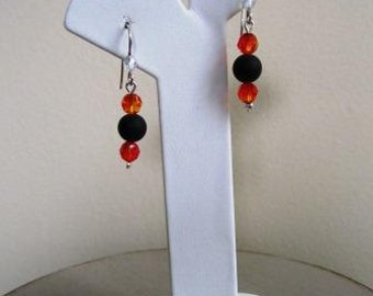 Earrings Beaded Black Onyx Sterling Silver Swarovski Bengals Oklahoma State - 1.5 Inches