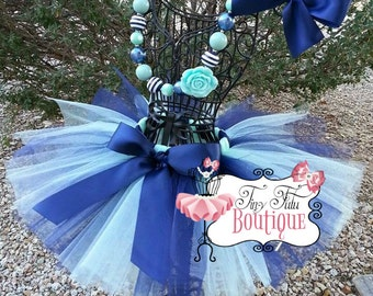 MINTY BLUES- Navy Blue and Mint baby/child tutu with  hairbow:  NEWBORN-5T