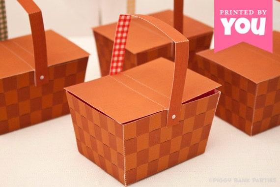 Picnic Basket Favor Box : DIY Printable Weaved Wood Basket PDF - Instant Download