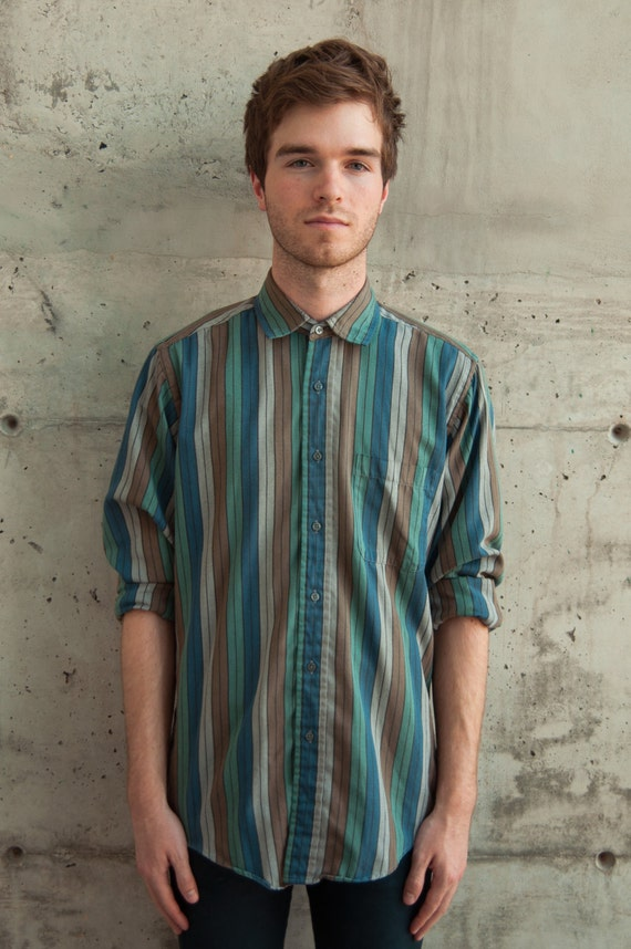 Vertical striped shirt turquoise mens button up wide for Striped button up shirt mens