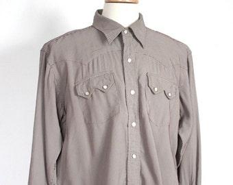 Vintage 1950's Dark Brown Bedford Cord Pin Striped Western Shirt // H Bar C // Mens Rockabilly