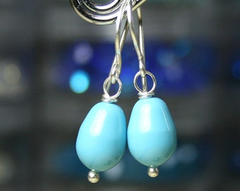 Turquoise Blue Pearls - Swarovski Crystal Teardrop Pearl Earrings - Light Blue Pearls with Sterling Silver