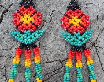 Lovely Colorful Glass Seed Beaded Flower Earrings
