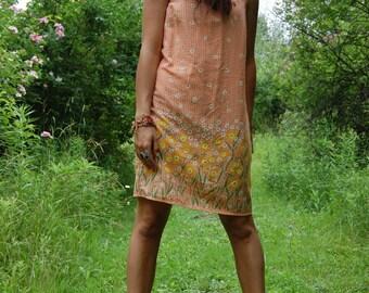 Vintage 90s Orange Gingham Daisy Flower Tank Mini Dress Grunge Size Medium