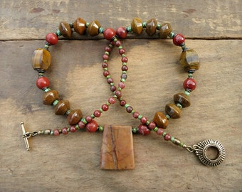 Rustic Brown Jasper Necklace, chunky Picasso jasper, agate and seed bead statement jewelry in tan, red-orange, turquoise