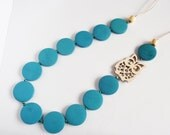 Long blue and natural brown owl wooden laser cut necklace