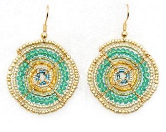 African Earrings, African Jewellery, Teal and Gold Beaded Earrings, Handmade Beadwork (Small)