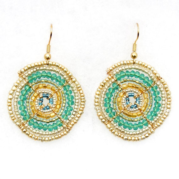 African Earrings, African Jewellery, Teal and Gold Beaded Earrings, Handmade Beadwork (Small)