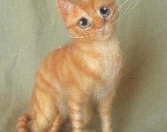Needle felted cat portrait, your kitty custom made, memorial keepsake