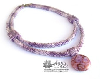 Purple strands and jasper necklace FREE SHIPPING