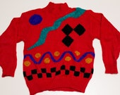 Sheridan Square Ugly Sweater, Geometric Shapes Design, Vintage 80s