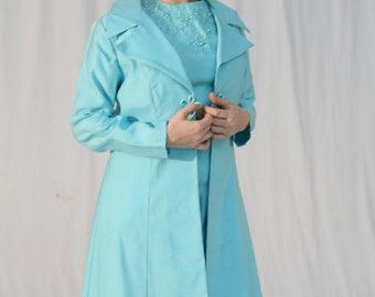 "Vintage 60s 2 Piece ""Angel"" in a Blue Dress and Coat"