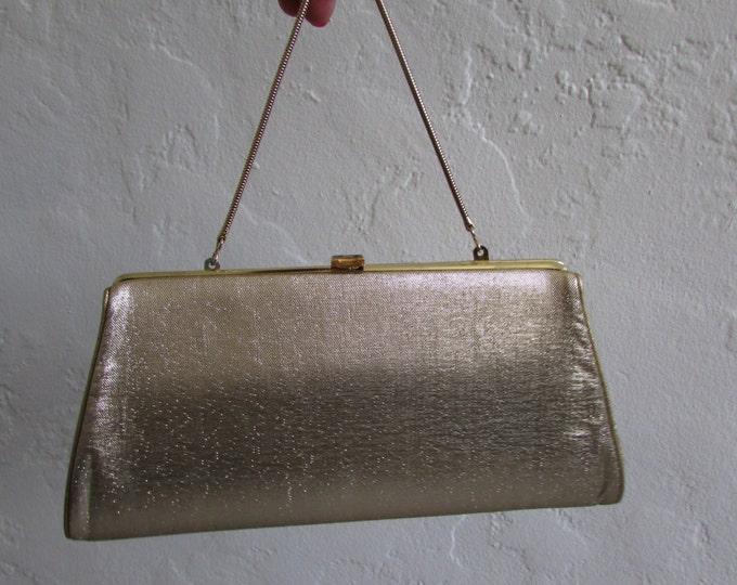 TEN DOLLAR RACK metallic gold clutch chain handle vintage 60s 70 purse