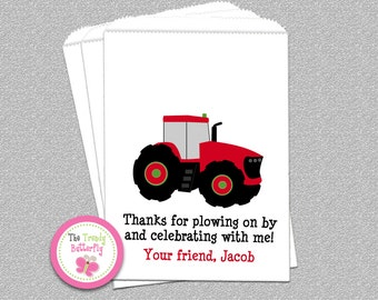 Red Tractor Party Favor Bags, Cookie Bag , Candy Bags, Goody Bags, Party Favor Bag