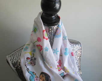 SALE Dora The Explorer and Boots Infinity Floral Spring Scarf
