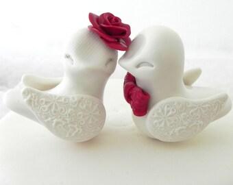 Love Birds Wedding Cake Topper, Ivory and Red,  Bride and Groom Keepsake, Custom Colors