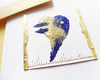 Blue Heart - Collage and gold - Blue Feelings